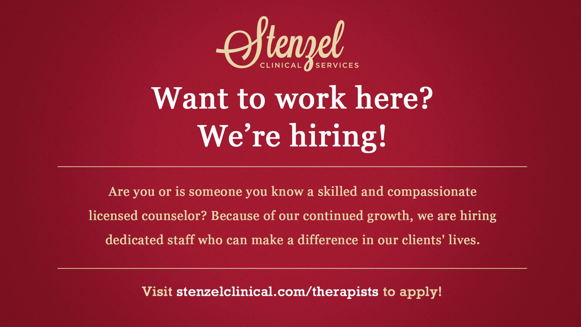 Now Hiring Licensed Therapists - Stenzel Clinical Services - Stenzel ...